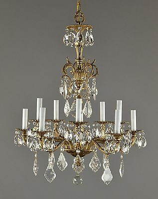Spanish Brass & Crystal Chandelier c1950 Vintage Antique Ornate Gold Glass Light