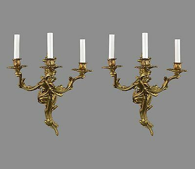 French Rococo Bronze Wall Sconces c1950 Vintage Antique