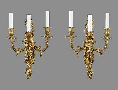 Gold Bronze French Rococo Wall Sconces c1930 Vintage Antique