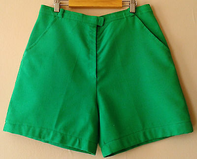 60s 70s vintage high-waisted green shorts 12 - 14 rockabilly retro