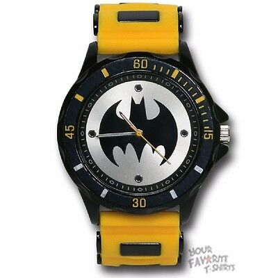 Batman Logo Watch with Yellow Rubber Strap Licensed Watch