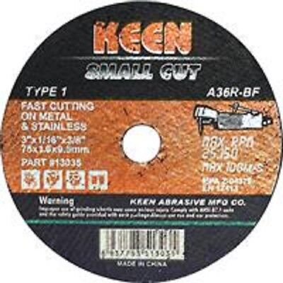 "KEEN 50pc 3"" x 1/16"" x 3/8"" Cut Off Wheels Type 1 Metal & Stainless Wheel A36RBF"