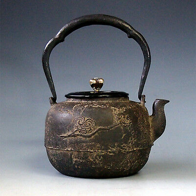 RARE Japanese Antique Flower Silver Bat Cast Iron TETSUBIN Chagama Kettle Teapot