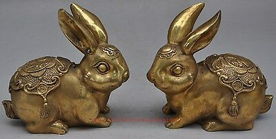Folk Chinese Brass Year Zodiac Wealth Lucky Cai Fu Coin Rabbit Statue Pair TT115