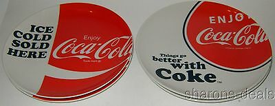 "Coca Cola Ceramic Plates Set 4 Luncheon Salad Dinner 8"" Enjoy Ice Cold Sold Here"
