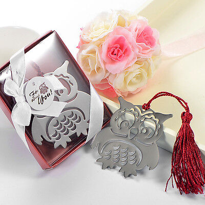 HOT Lovely Exquisite Eagle Owl Creative Metal Bookmark With Ribbon Box Gift