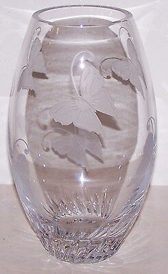 """Stunning Signed Lenox Crystal Etched Butterfly 9"""" Vase"""