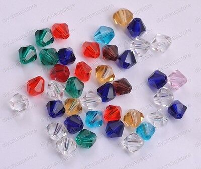 Czech Bicone Faceted Rondelle Glass Crystal Charms Loose Spacer Jewelry Beads4MM