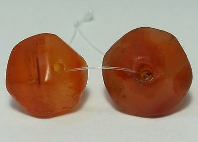 2 Ancient Rare Faceted Carnelian / Agate Beads