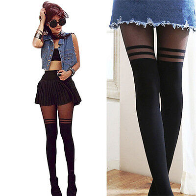 Black Sexy Women Temptation Sheer Mock Suspender Tights Pantyhose Stockings Cool