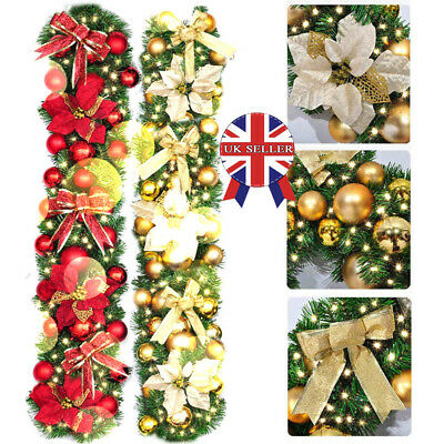 9ft 2.7M Cream Decorated Garland Christmas Decoration Xmas Fireplace Tree Pine