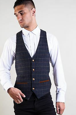 Mens Marc Darcy Designer Navy Tweed Check Wool Style Waistcoat Vest Size 34-52