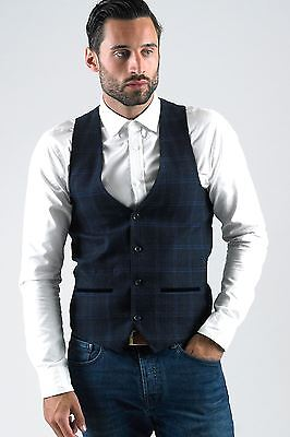 Mens Marc Darcy Designer Navy Blue Check Waistcoat Formal Vest Size 34-52 Avl