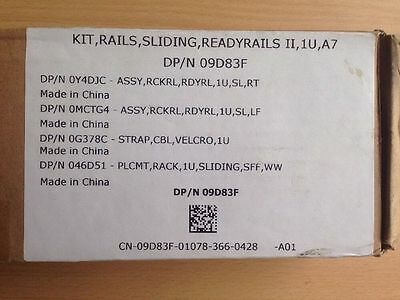 Rails Sliding Readyrails II, 1U, A7, Dell DP/N 09D83F BNIB
