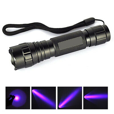 Outdoor UV 501B LED 365NM Ultra Violet Blacklight Flashlight Torch 18650 Light