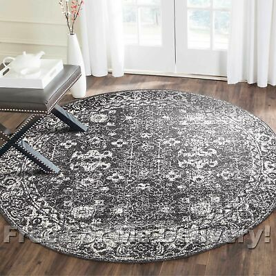 SULIS ALLOVER CHARCOAL BLACK TRADITIONAL ROUND RUG (M) 150x150cm **FREE DELIVERY