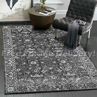SULIS ALLOVER CHARCOAL BLACK TRADITIONAL FLOOR RUG (L) 200x290cm **FREE DELIVERY