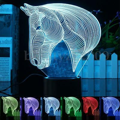 3D LED Table Lamp Horse Head 7 Color Change Bedroom Party Desk Night Light Gift