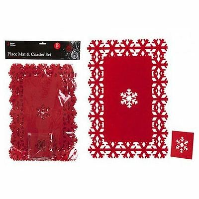 Christmas Decoration Snowflake Dinner Table Red Felt Mats Xmas Design 8PC
