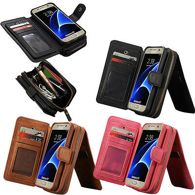 Genuine Leather Case Wallet Zipper Card Flip Cover For Samsung Galaxy S7 S7edge