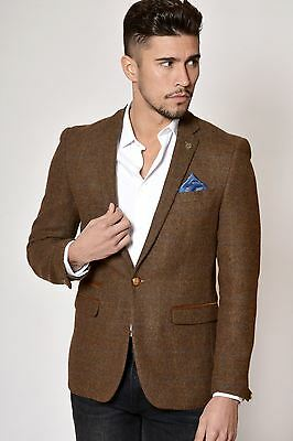 Mens Marc Darcy Designer Tan Brown Vintage Style Tweed Check Blazer Jacket