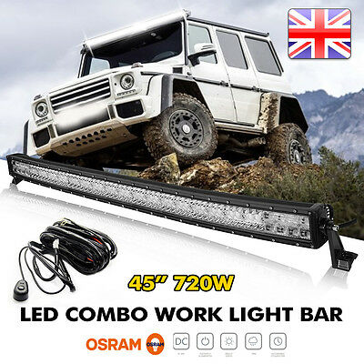 "OSRAM 720W 45""  CURVED LED Combo Work Light Bar Offroad Driving Lamp FLOOD SPOT"