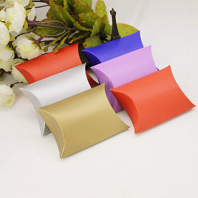 100pcs Pillow Style Wedding Favors Candy Paper Boxes Party Gift Box Sugar Boxes