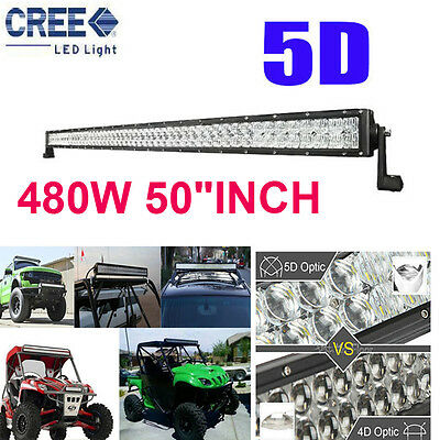 "CREE 5D 480W 50""INCH LED Combo Work Light Bar Offroad Driving Lamp 4WD Truck SUV"