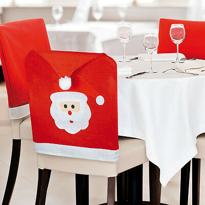 Pack Of 4 Christmas Santa Hat Dining Chair Covers Xmas Decoration - Uk Seller