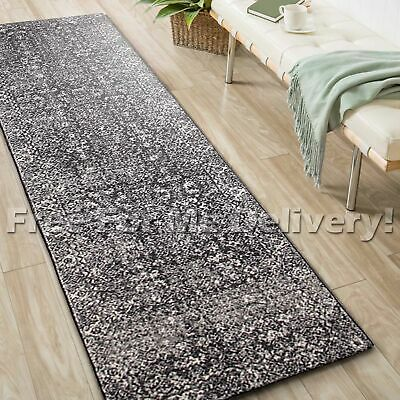 SULIS ALLOVER CHARCOAL BLACK TRADITIONAL RUG RUNNER (L) 80x400cm **FREE DELIVERY