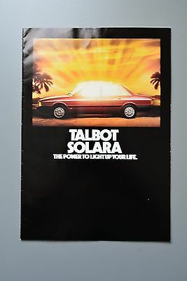 Sales Brochure: Talbot Solara1.3 & 1.6 with Price List