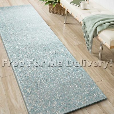 SULIS ALLOVER LIGHT BLUE TRADITIONAL RUG RUNNER (L) 80x400cm **FREE DELIVERY**