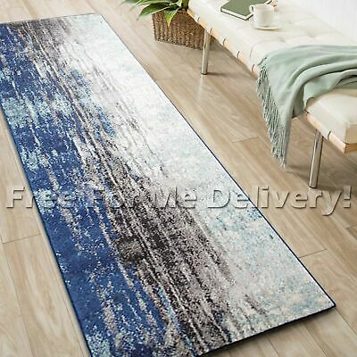 SULIS URBAN PAINTED NAVY BLUE MODERN RUG RUNNER (XL) 80x500cm **FREE DELIVERY**