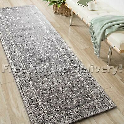 SULIS FLORAL MEDALLION GREY TRADITIONAL RUG RUNNER (XL) 80x500cm **FREE DELIVERY