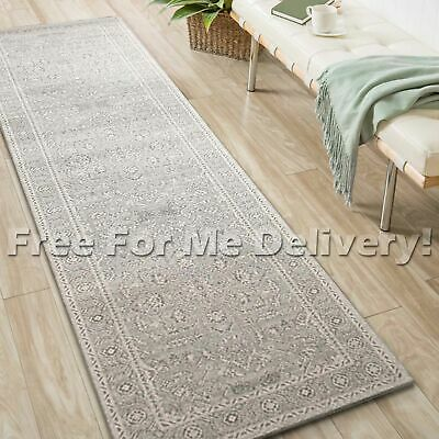 SULIS FLORAL MEDALLION GREY TRADITIONAL RUG RUNNER (L) 80x400cm **FREE DELIVERY*