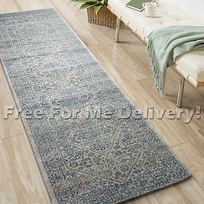 SULIS MEDALLION SILVER BLUE TRADITIONAL RUG RUNNER (XL) 80x500cm **FREE DELIVERY