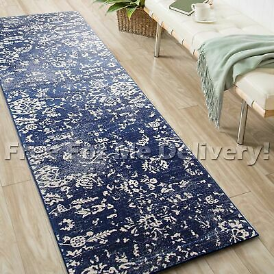 SULIS FLORAL BLUE FLORAL TRADITIONAL RUG RUNNER (M) 80x300cm **FREE DELIVERY**