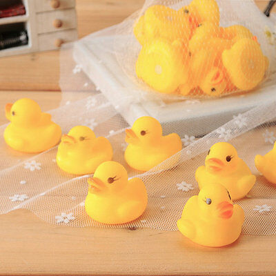10pcs Baby Bathing Bath Tub Toys Mini Rubber Squeaky Float Duck Yellow ZY