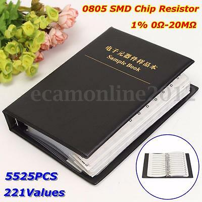5525Pz 221 Valore 0805 Resistore SMD 1% 0Ω-20MΩ Kinds Assortment Kit-Sample Book