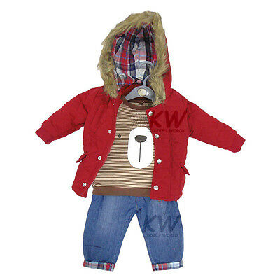 Baby Boys Jeans & Coat Jacket with Long Sleeved Top 3 Piece Outfit (6-24 Months)