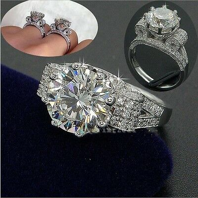 Valuable Jewelry Women 8mm 3ct White sapphire Cz 925 Silver Wedding Band Ring