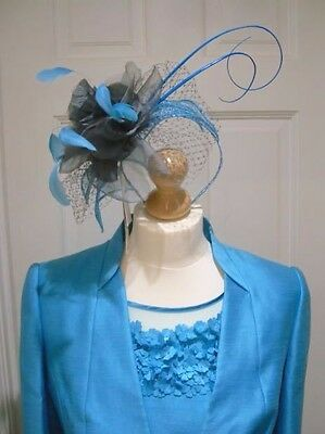 12/14 Jacques Vert Turquoise Mother of the Bride Dress Suit Jacket Fascinator