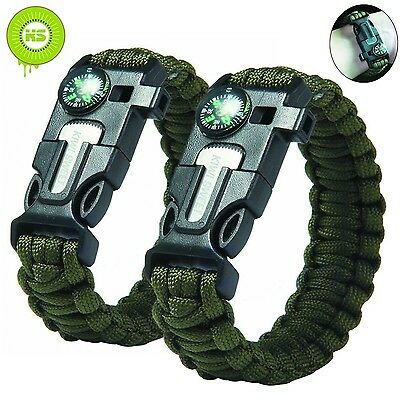 KIWISWEET Survival Paracord Bracelet kit with Compass Flint Fire Starter Scra...