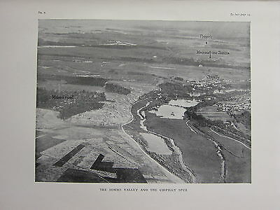 1918 Wwi Ww1 Print ~ The Somme Valley & The Chipilly Spur Aerial View