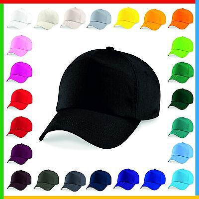ORIGINAL 5 PANEL BASEBALL CAP, Beechfield Plain 100% Cotton Twill - 21 COLOURS