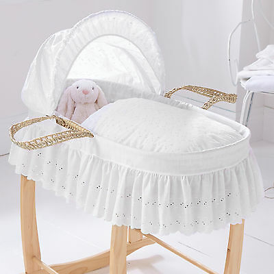 New Clair De Lune White Broderie Anglaise Palm Baby Moses Basket & Mattress