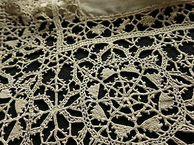 VERY FINE & GORGEOUS Antique 19thC Refectory Table Runner RETICELLA Lace & Linen