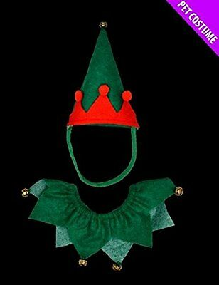 Christmas Elf Xmas Small Pet Cat or Dog Elf Christmas Hat & Collar Set