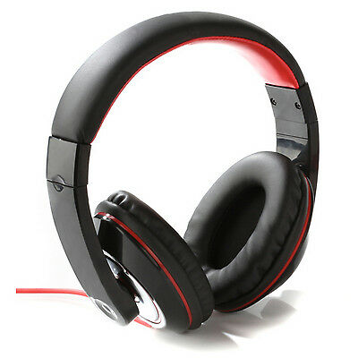 Intempo Black and Red Over-Ear Stereo Headphones Earphone Headset For iPod MP3