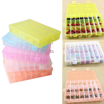 24 Compartment Clear Plastic Craft Beads Jewelry Storage Organiser Tool Box Case